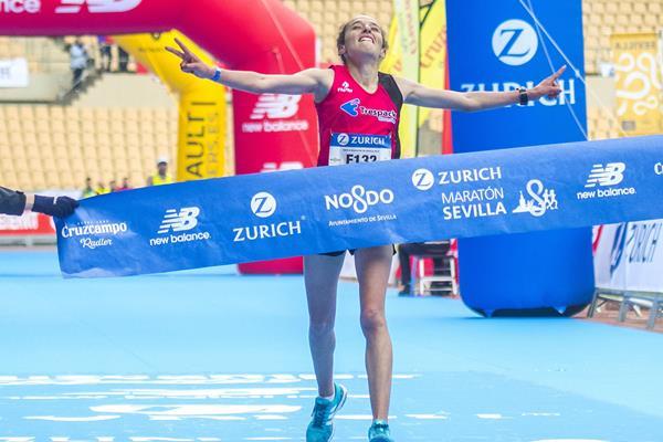 Kaoutar Boulaid winning the Seville Marathon (Juan José Úbeda / Zurich Maratón de Sevilla)