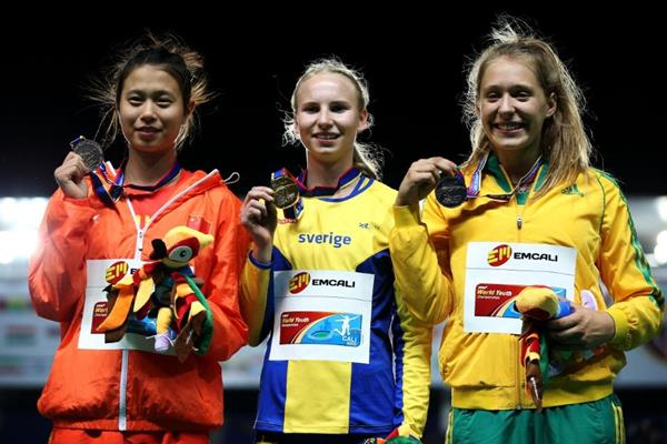 Girls' pole vault podium at the IAAF World Youth Championships, Cali 2015 (Getty Images)