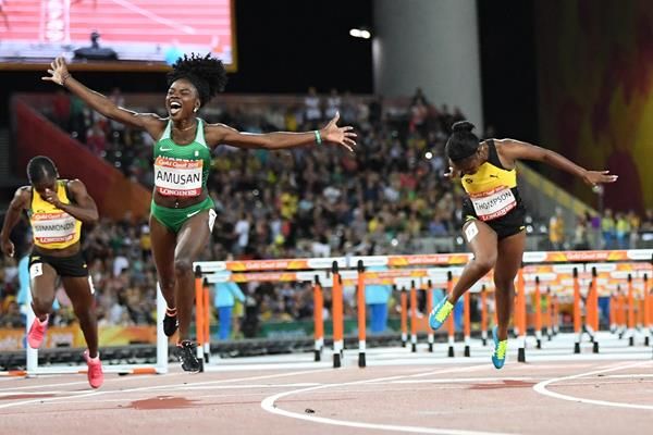 Tobi Amusan taking the 2018 Commonwealth title (AFP/Getty Images)