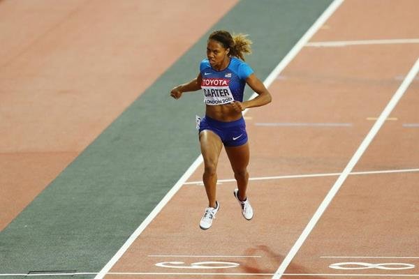 Kori Carter crosses the line in the 400m hurdles at the IAAF World Championships London 2017 (Getty Images)