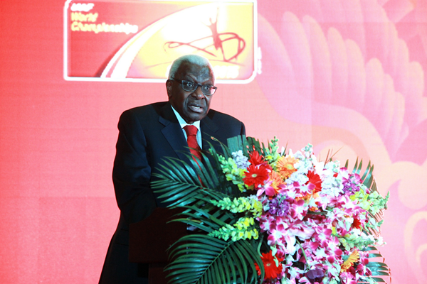 IAAF President Lamine Diack at the launch of ticket sales for the IAAF World Championships, Beijing 2015 (Beijing 2015 LOC)