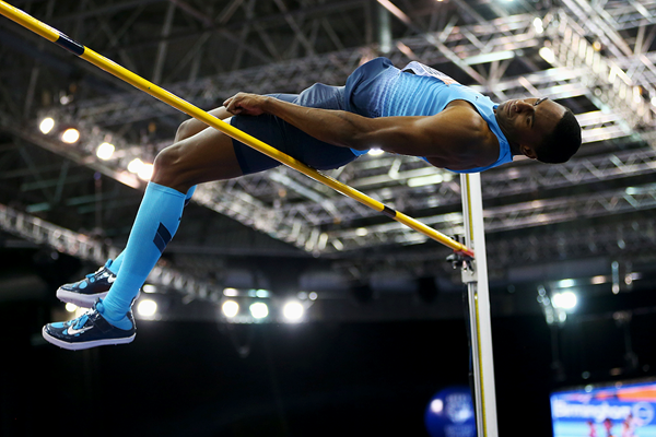 Erik Kynard in the high jump at the Birmingham Indoor Grand Prix (Getty Images)