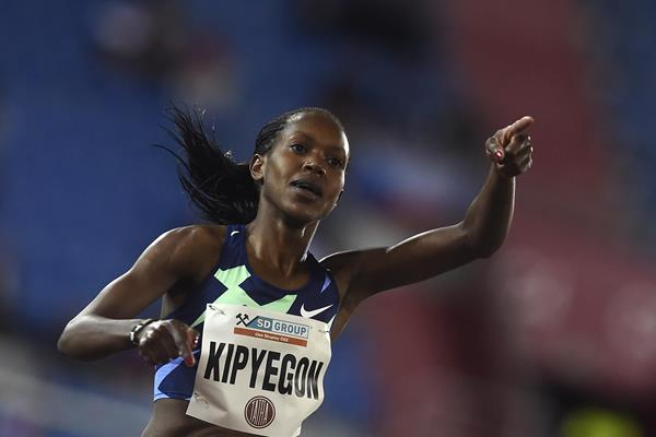Faith Kipyegon wins the 1500m in Ostrava (AFP / Getty Images)