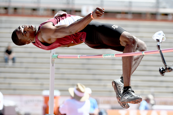 Lindon Victor in the decathlon high jump at the Texas Relays (Organisers / Errol Anderson)