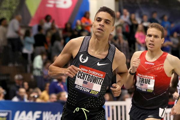 Matthew Centrowitz en route to his victory in the mile at the IAAF World Indoor Tour meeting in Boston (Victah Sailer)