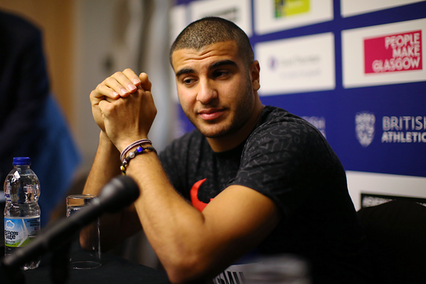 Adam Gemili at the press conference ahead of the Glasgow Indoor Grand Prix (Getty Images)