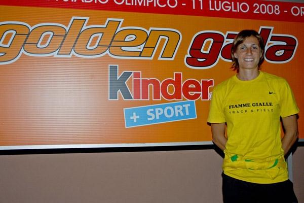 Italian High Jump record holder Antonietta Di Martino at the Kinder+Sport Golden Gala press conference in Rome (Claudio Petrucci/FIDAL)