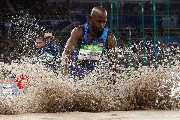 Jeff Henderson in the long jump at the Rio 2016 Olympic Games (AFP / Getty Images)