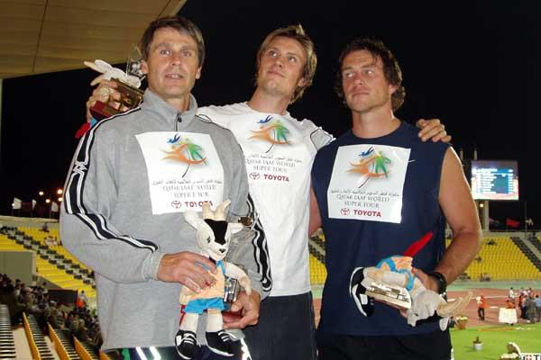 Andreas Thorkildsen with Jan Zelezny and Eriks Rags after setting a meeting record of 90.13m in Doha (Pavel Prusa)