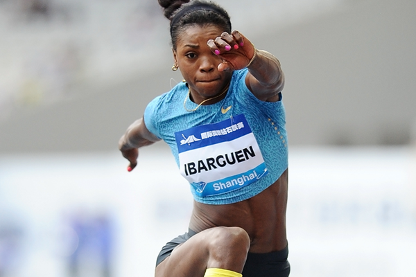 Triple jump winner Caterine Ibarguen at the IAAF Diamond League meeting in Shanghai (Errol Anderson)