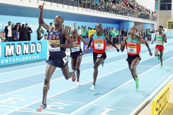 (L-R) Bernard Lagat of the United States celebrates as crosses the line to win gold ahead of Mo Farah of Great Britain Edwin Sol of Kenya and Augustine Choge of Kenya in the Men's 3000 Metres Final during day three - WIC Istanbul (Getty Images)