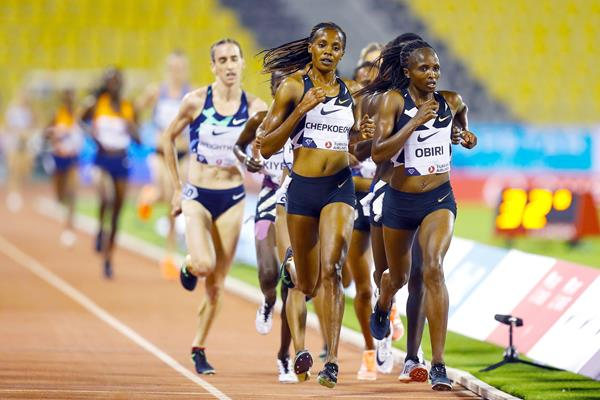 Hellen Obiri on her way to winning the 3000m at the Diamond League meeting in Doha (AFP / Getty Images)