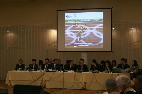 The delegation for Beijing 2015 delivers its presentation to IAAF Council (Bob Ramsak)