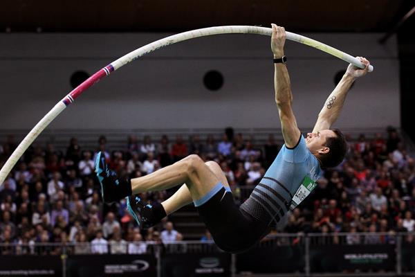 Pole vault winner Renaud Lavillenie at the World Athletics Indoor Tour meeting in Karlsruhe (Jean-Pierre Durand)