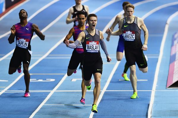 Pavel Maslak, the 400m winner at the Muller Indoor Grand Prix in Birmingham (Getty Images)