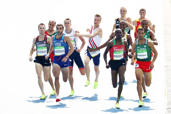 Robby Andrews, Elijah Manangoi and Taoufik Makhloufi in the 1500m at the Rio 2016 Olympic Games (Getty Images)
