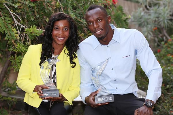 Shelly-Ann Fraser-Pryce and Usain Bolt, the 2013 IAAF World Athletes of the Year (Giancarlo Colombo)