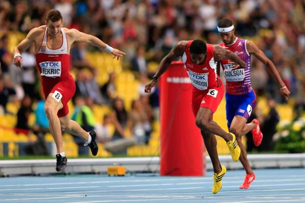 Jehue Gordon in the mens 400m Hurdles at the AAF World Athletics Championships Moscow 2013 (Getty Images)