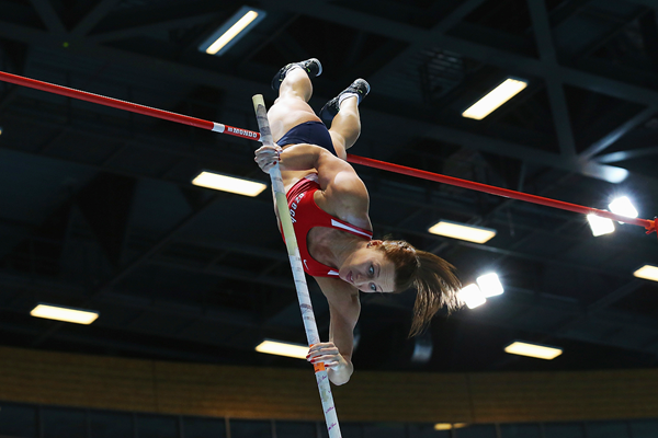 Jirina Ptacnikova in the pole vault at the IAAF World Indoor Championships (Getty Images)