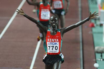 Brimin Kiprop Kipruto of Kenya celebrates winning the Men's 3000m Steeplechase Final (Getty Images)