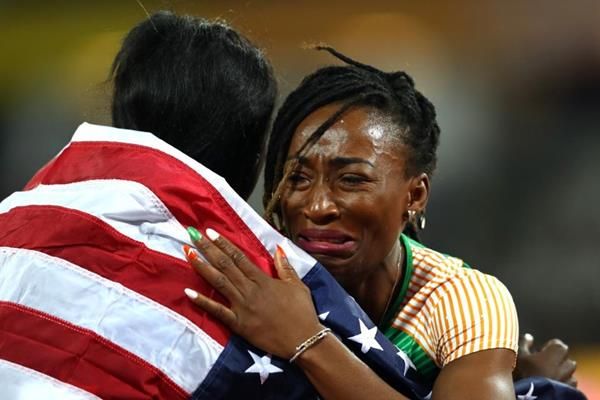 Tori Bowie and Marie-Josee Ta Lou after the 100m final at the IAAF World Championships London 2017a (Getty Images)