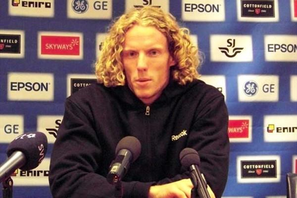 Steve Hooker at the pre-meeting press conference in Stockholm (Lennart Julin)