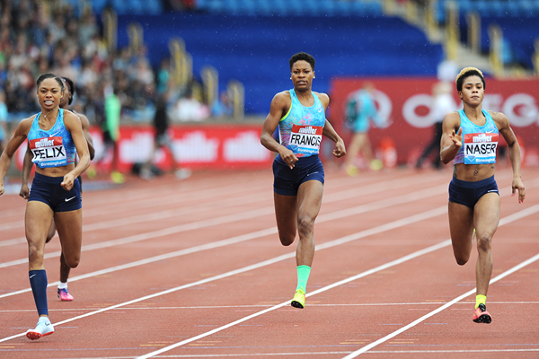 Salwa Eid Naser wins the 400m at the IAAF Diamond League meeting in Birmingham (Mark Shearman)