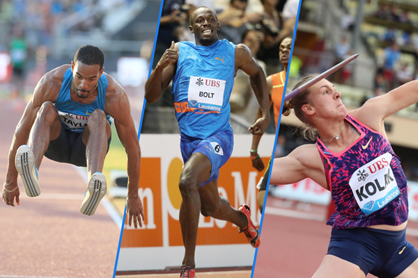 Christian Taylor, Usain Bolt and Sara Kolak in action at the IAAF Diamond League meeting in Lausanne ()