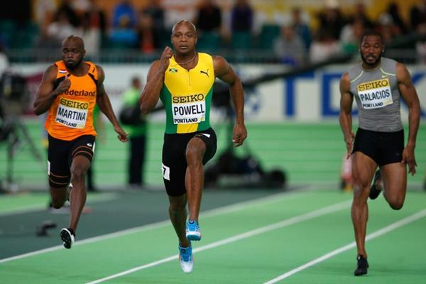 Asafa Powell in the men's 60m heats at the IAAF World Indoor Championships Portland 2016 (Getty Images)