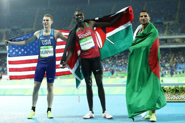 800m medallists Clayton Murphy, David Rudisha and Taoufik Makhloufi at the Rio 2016 Olympic Games (Getty Images)