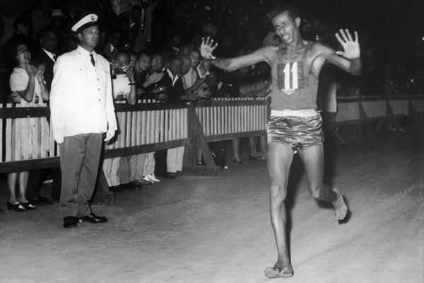 Abebe Bikila wins the marathon at the 1960 Olympic Games in Rome (Getty Images)