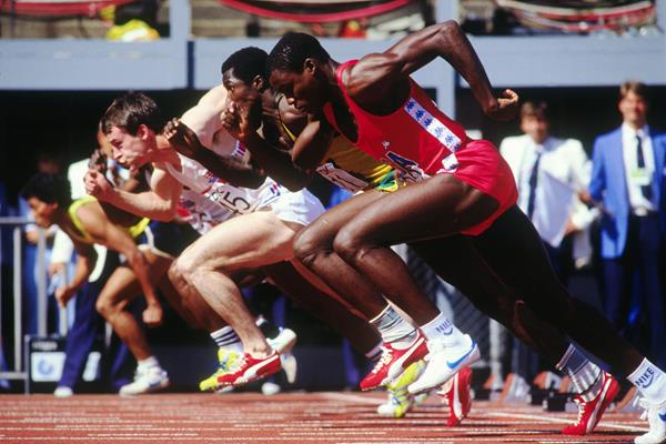 Carl Lewis in the 100m at the 1983 IAAF World Championships in Helsinki (Getty Images)