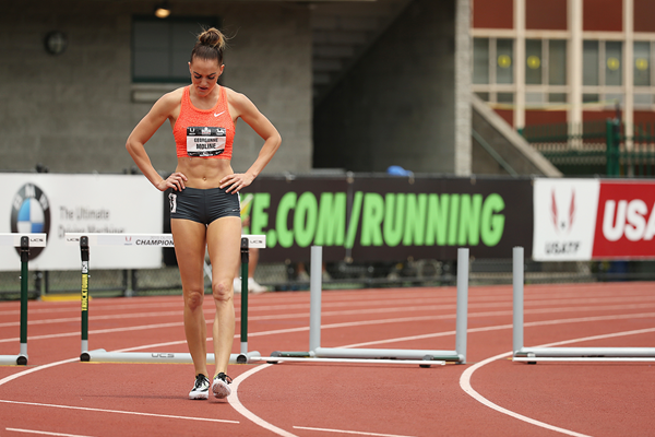 Georganne Moline after hitting a hurdle at the 2015 US Championships (Getty Images)