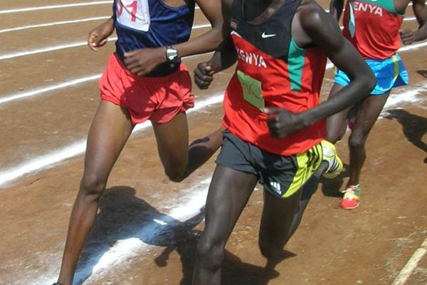 Kenya's national junior cross country champion John Kemboi (with neck chain) leads the boys 5000m at the Kenyan national high schools championships in Eldoret (David Macharia)