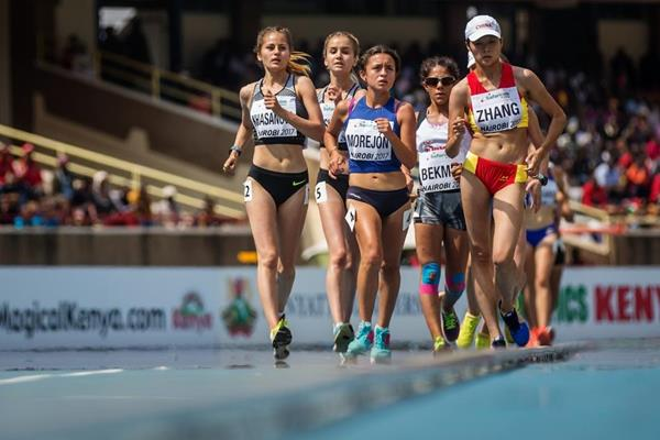 Glenda Morejon leads the girls' 5000m race walk at the IAAF World U18 Championships Nairobi 2017 (Getty Images)