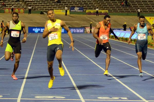 Warren Weir (second left) winning the 200m at the 2013 Jamaican Championships (Anthony Foster)
