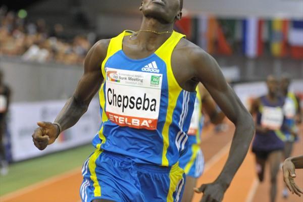 Nixon Chepseba winning the 1500m at the PSD Bank Meeting in Düsseldorf (BENEFOTO)