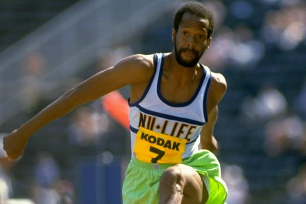 US triple jumper Willie Banks in action in 1985 (Getty Images)