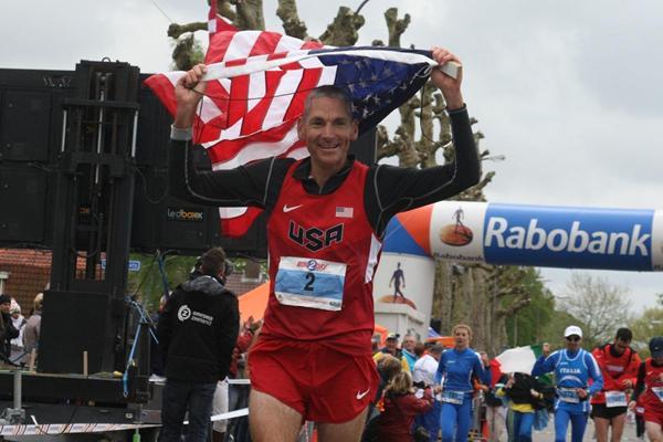USA's Jon Olsen after winning the 2013 IAU 24 Hour World Championships (IAU)
