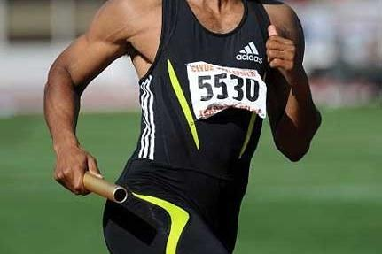 Tyson Gay in the 4x400m at the 2008 Texas Relays (Kirby Lee)