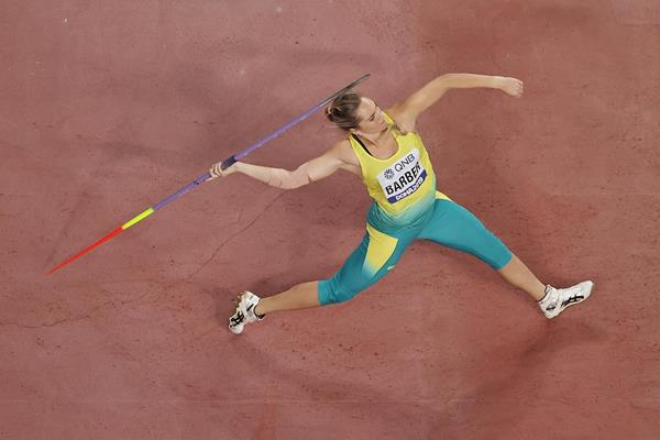 Kelsey-Lee Barber throws to gold at the IAAF World Athletics Championships Doha 2019 (Getty Images)