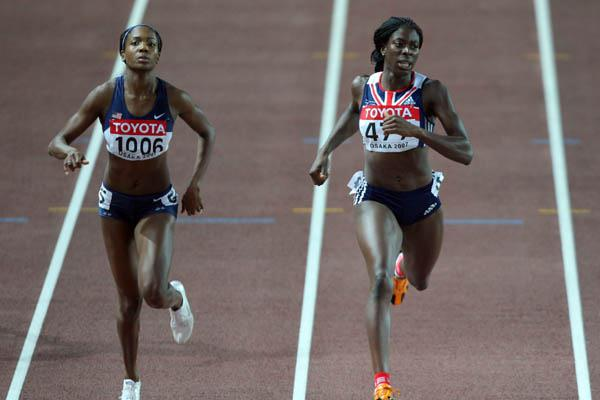 Christine Ohuruogu of Great Britain wins her 400m semi final ahead of Mary Wineberg of the US (Getty Images)
