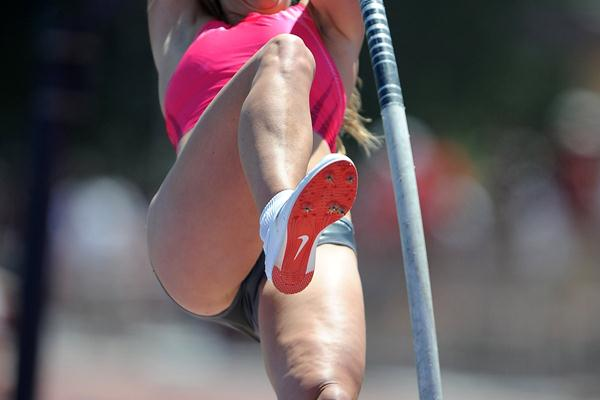 Chelsea Johnson clears an early season world best of 4.55m at Mt. SAC (Kirby Lee)
