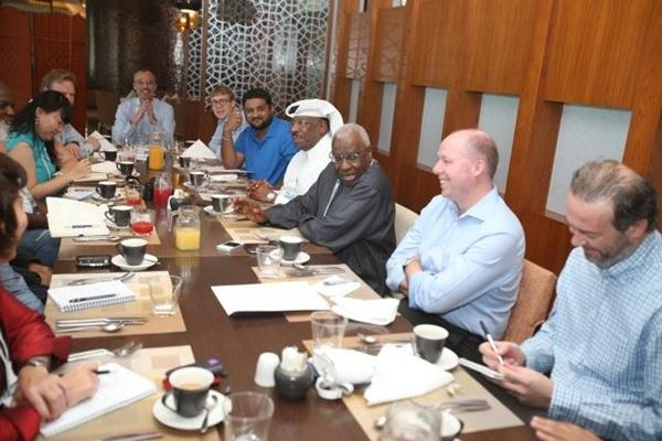 IAAF President Lamine Diack at a media breakfast in Doha on 9 May 2014 (Doha LOC)