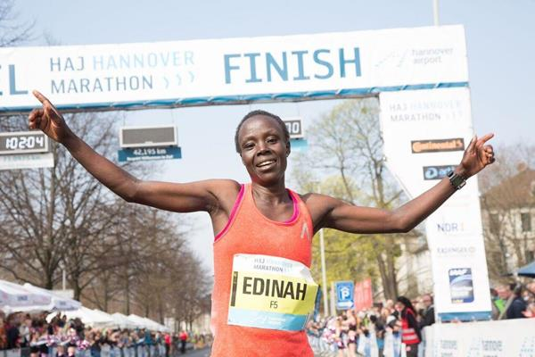 Edinah Kwambai after winning at the 2016 Hannover Marathon (Organisers)