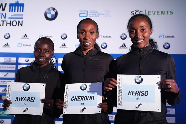 Valary Aiyabei, Gladys Cherono and Amane Beriso in Berlin (Organisers)