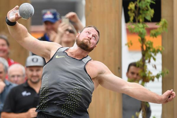 Tom Walsh competing in the Big Shot competition in Christchurch (Getty Images)