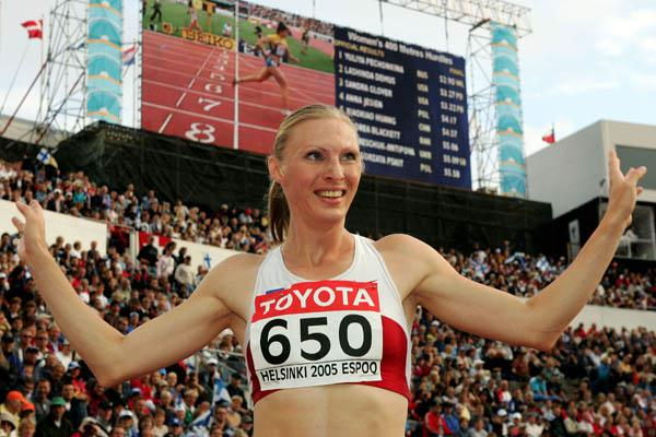 All smiles - World championships gold for Yuliya Pechonkina in Helsinki 2005 (Getty Images)