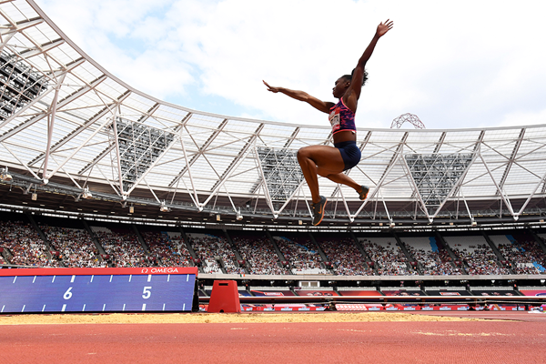 Long jump winner Tianna Bartoletta at the IAAF Diamond League meeting in London (Kirby Lee)