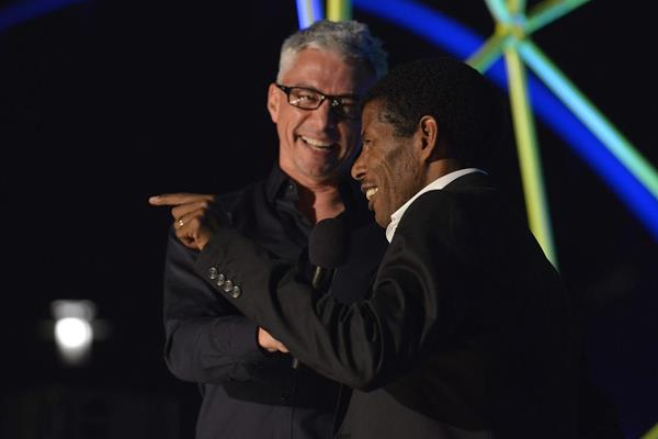 Jonathan Edwards and Haile Gebrselasie at the Great North Run Million Opening Ceremony, 4 September 2014  (North News and Pictures)
